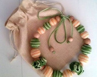 """Slingobusy""""Summer mood"""" crochet necklace breastfeeding.Environmental toy for kids and stylish decoration for moms. For teething.Shop RedPion"""