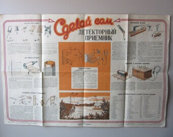 Make Your Own RADIO - Poster from Soviet times Russia USSR  y 1947