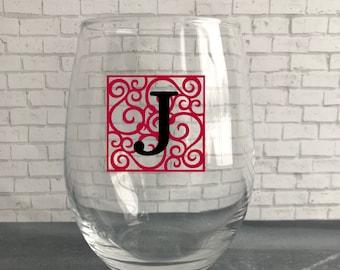 Custom Wine Glass- Personalized Wine Glass- Monogramed Wine Glass- Birthday Gift- Holiday Gift