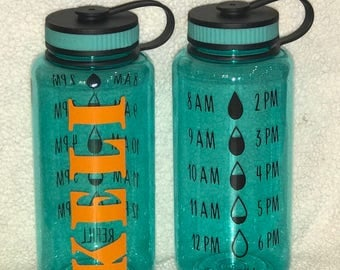 Personalized wide mouth sports water bottle.