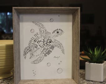 Inspirational word art sea turtle with sparkly bubbles framed drawing