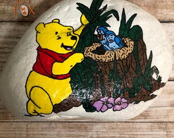 Painted Rock - Winnie the Pooh with Blue Birds