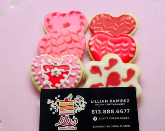 Sugar Valentine cookies made to order