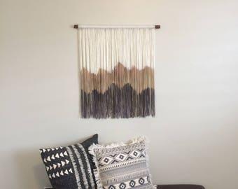 Dip Dye Wall Hanging / Yarn Wall Hanging / Boho Wall Hanging / Dip Dyed Yarn Tapestry / Boho Wall Decor / Fiber Art / Mountain Tapestry