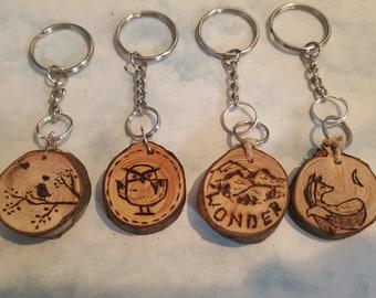 Handmade Wood Burned Keychain