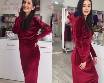 red dress/ dress/ feminine dress/ modern dress/ romantic dress/ red/ handmade dress/