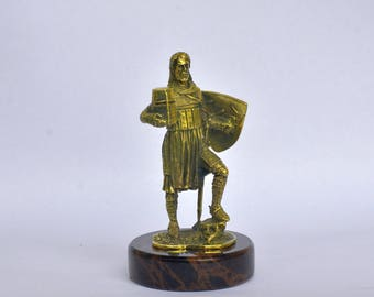 Art Deco Bronze Ancient Medieval Proud Knight Warrior Sculpture Statuette Figurine