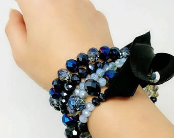 Sapphire crystal, gemstones bracelet with ribbon, charm bracelet, women jewelry, Valentine's day gift, party accessories