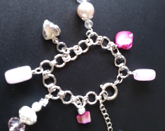 Love Charm Bracelet with Locket Powered by Rose Quartz in Silver