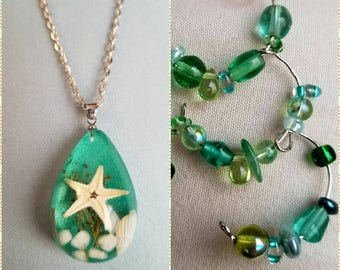 Ocean Inspired Necklace and Earring Set