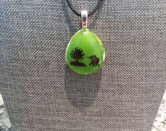 Green Fused Glass Pendant With Elephant Decal