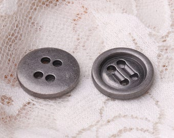 15mm 4 holes button zinc alloy light black button sweater coat shirt button 10pcs