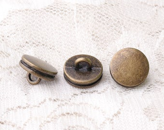 metal buttons 11*7mm double-deck buttons shank buttons 10pcs bronze buttons smooth buttons