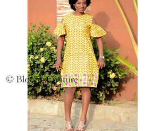African print dress, African Cold shoulder dress, African clothing, African fashion, Ankara midi dress
