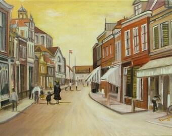 Oil Painting landscape Village in Holland Impressionism Fine Art Signed Original