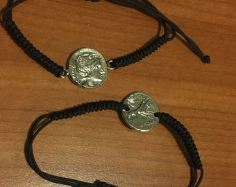 Silver Bracelet Roman Coin Replica