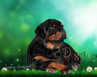 Hand-drawn Rottweiler greeting card, on green background.