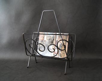 Newspaper stand black metal, wrought iron, brochure stand, magazine holder
