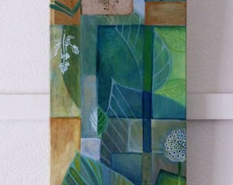 Feuilles 1, humeur Conseil des feuilles, peinture oblongue (80 x 30 cm), peinture florale, vert