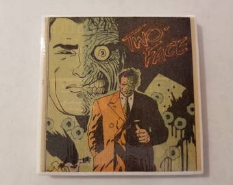 Batman Villain Two-Face Comic Book Ceramic Tile Coaster