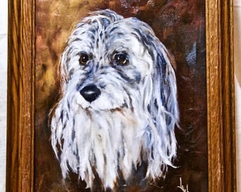 Bearded Collie Original oil painting portrait of a dog by Lauba