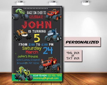 Blaze and the Monster Machines,Blaze and the Monster Machines Invitation,Blaze and the Monster Machines Birthday,Personalized,Digital Prints