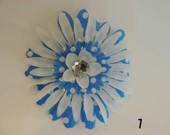 Blue and White Polkadot Hair Clip