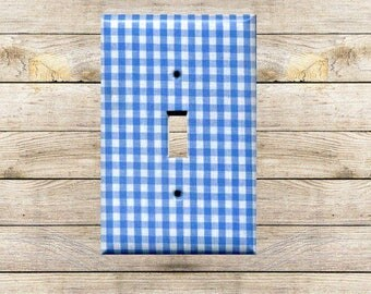 Blue Gingham I Decorative Switchplate