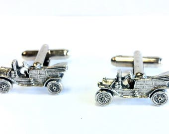 Vintage Car Cufflinks, Handmade in England from Fine Antique English Pewter