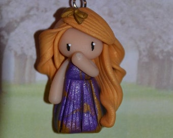 Baby dress purple and gold, golden hair - Les Marbrees Collection - jewelry handmade