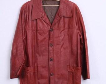 Vintage Womens 12 L Leather Jacket Single Breasted Burgundy