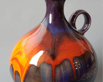 Purple/orange Hutschenreuther vase by Renee Neue, 1970s, fat lava, West Germany