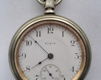 Antique Elgin Pocket Watch, Open Face Pocket Watch