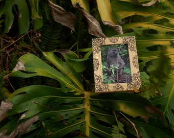 Elegant, wood burnt photo frame