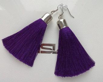 Earrings tassels, earrings of color ultra violet, fashion earrings with silk tassels,long earrings,earrings as a gift,Earrings are dark blue
