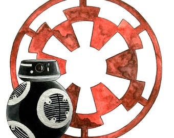 Star Wars BB-9e watercolor painting