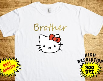 Hello Kitty Brother, Hello Kitty Iron On Transfer, Hello Kitty Printable DIY Shirt Transfer, Digital Files, Instant Download