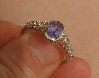 Tanzanite sterling silver ring size 9