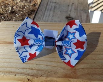 Small Dog Cat Bow Tie Accessory - Red, White, and Blue Stars