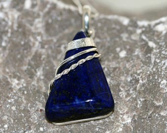 Lapis Lazuli Pendant. Beautiful deep blue Lapis fitted in classic, sterling silver setting. Handmade & unique.