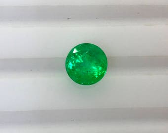 1.45Cts. Natural Colombian Emerald AAA Grade 7MM Round Cut Faceted Loose Gemstone