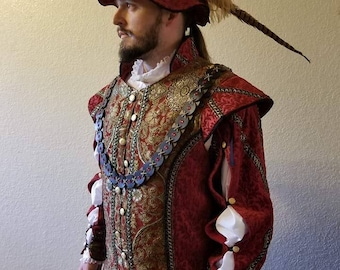 The Prince Edmund Doublet, Starter Kit. Doublet Hat and Blouse (shirt)