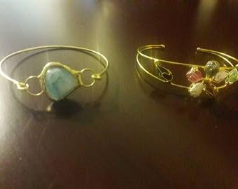 Copper and quartz bracelet