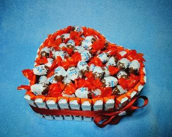 Heart cake made of children's chocolate