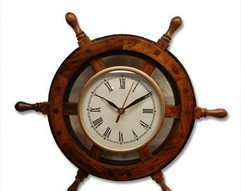 Antique Hand Made Ship Wheel  Clock