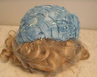 Vintage pillbox hat with netting and white beading