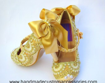 Gold mary jane heels / wedding / party shoes