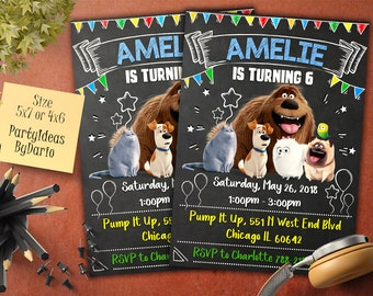 Secret Life of Pets Invitation, Secret Life of Pets Invite, Secret Life of Pets Birthday Party