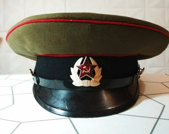 Vintage Military Hat Cap Military Cap Military Peaked Cap Soviet Army Cap Infantry Cap Military Peaked Cap Artillery Cap Russian Magic Cap