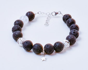 Sterling Silver and Lava Stone Bracelet